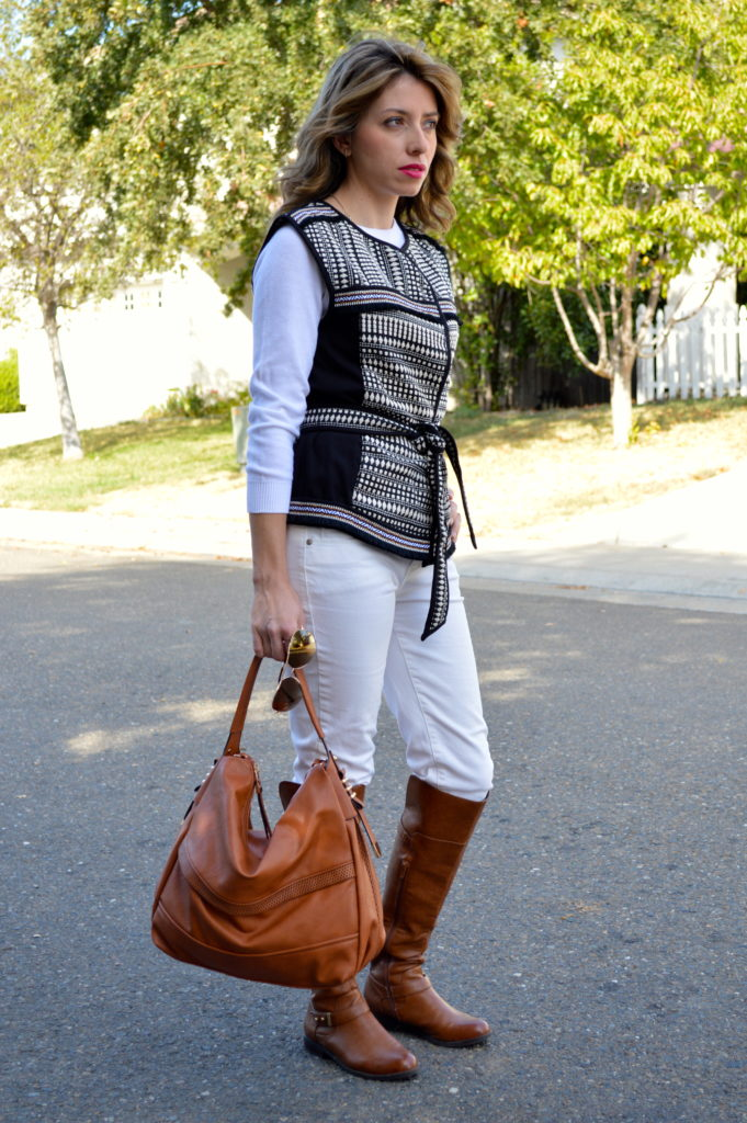 knee high boots and white jeans for women
