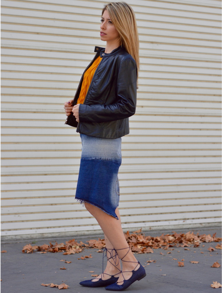Denim Skirt and Fringe top Outfit Ideas