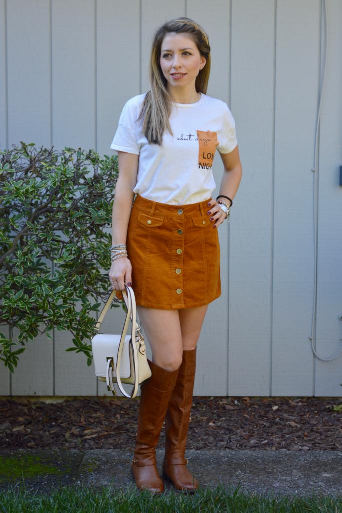 Button-Front Corduroy Mini Skirt Outfit Idea