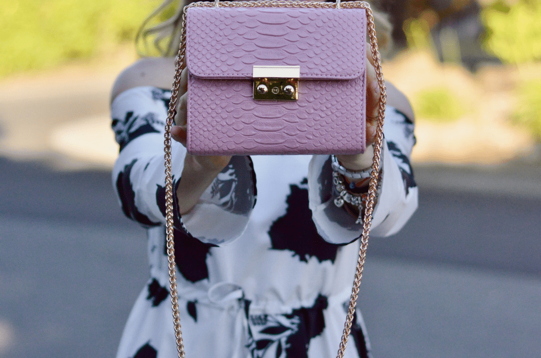 Floral Dress and Pink Bag