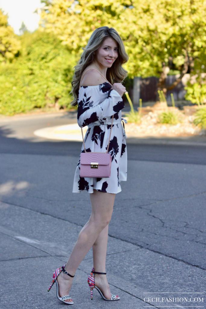 Floral Dress and Pink Bag
